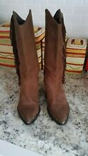 ZODIAC Brown Suede Leather Western Fringe Boots Women's Size 7M