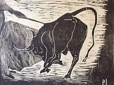Bois gravé tauromachie Taureau Camargue toréador Picador Andalousie signé P J ?