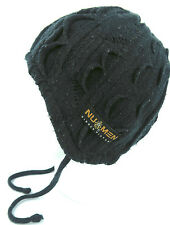 Unisex Warm Winter Knitted Toggle Ear Cover Trapper Ski Beanie Hat Black 1-Size