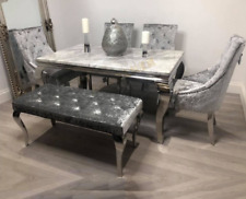 (DINING TABLE SET) 4chairs, bench seat and modern marble table