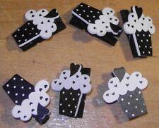 6 Mini Pince à Linge Cupcake Noir/Blanc Décoration de Table Mariage Baptême fête