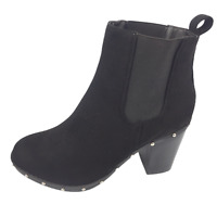Womens New Look Black High Heel Winter Studded Shoes Ankle Boots Size UK 8 New