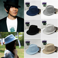JT26 Sun Jazz Hat Panama Gangster Cap Men Women Trilby Fedora Summer Beach