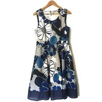 ModCloth Fit And Flare Floral Midi Dress Size Large Blue & White With Pockets D6