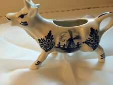 Elesva Delfts Holland COW CREAMER PITCHER Hand Painted Blue & White Porcelain