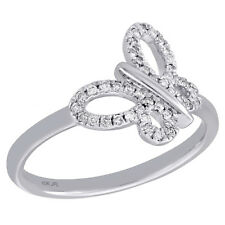 10K White Gold Ladies Round Diamond Butterfly Right Hand Cocktail Ring 0.17 Ct.