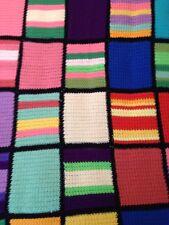 "Handmade Multi-Color Afghan Throw Lap Blanket 50"" x 78"" Geometric Retro Design"