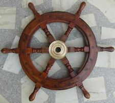 Nautical Brown Wooden Ship Wheel Boat Vintage Wall Decor Collectible 18''