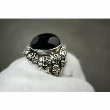 Handmade 925 Solid Silver Skull Ring w Black Agate for Harley Davidson Biker 41