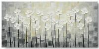 Hand Painted Flower Canvas Wall Art Framed White Floral Oil Painting Home Decor