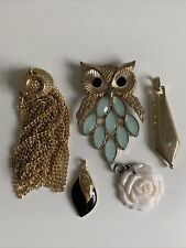 Vintage Estate Jewelry Lot Necklace Pendant Charm Owl Gold Tassel Rose Tear Drop
