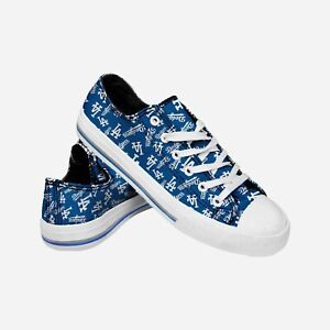 Los Angeles Dodgers MLB Women's Low Top Repeat Print Canvas Shoes FREE SHIP