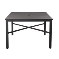 42 in. Black Square Metal Outdoor Patio Deck Dining Table Umbrella Hole Modern