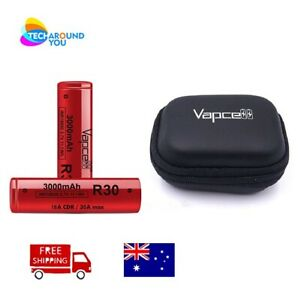 2x Vapcell R30 15/30A 3000mah Rechargable High Drain Battery with Battery Case