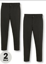 V By Very Boys 2 Pack Slim School Trousers - Black Size 14-15 Years