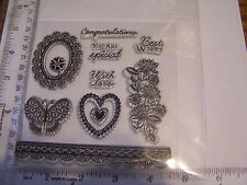 HEARTS FLOWER SPRAY  CLEAR STAMP SET BUTTERFLY LACE BORDER FLOWER FRAME BIRTHDAY