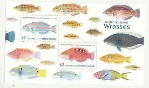 2018 Norfolk isl. Fish: Wrasses miniature sheet. MUH. Going cheap