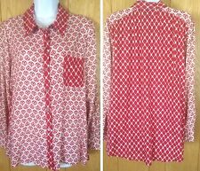 Style & Co Patterned Red & White Button Front Adj Sleeve Blouse Womens Size PXL