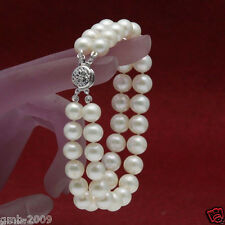 AAA+ 2 Rows 7-8mm White Natural Freshwater Akoya Pearl Bracelet 7.5""