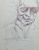 Old Drawing Sketch Portrait Male Pen On Basket Years 60 70 P28.8