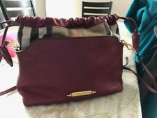 Burberry Women's Burgundy Leather Check Trim Handbag Crossbody
