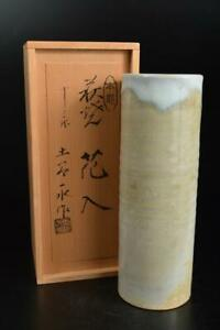 U641: Japanese Hagi-ware White glaze FLOWER VASE Ikebana, auto w/signed box