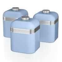 Swan Retro Set of 3 Blue Tea Coffee Sugar Spices Herbs Canisters Kitchen Storage