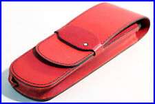 80ies MONTBLANC elegant SIENNA RED Leather pouch, etui for 2 LARGE fountain pen