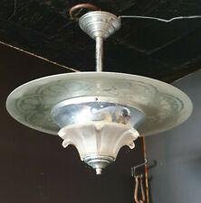 LUSTRE ART DECO EN ALUMINIUM ET VERRE, Saturn Ceiling Light 1920/30s