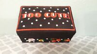 Mary Engelbreit Fabric Keepsake Box Trinket Too Cute Black Embroidered