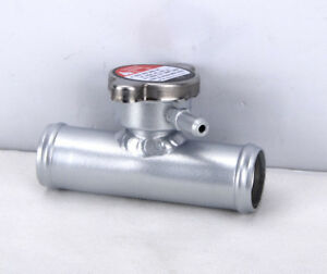 "38mm 1-1/2"" O.D 45 Degrees Aluminum Inline Radiator Filler Neck With Cap Silver"