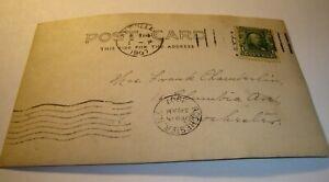One cent Ben Franklin stamp on postcard postmarked Feb. 15, 1907   Rare!