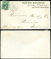 1870's Evansville IN CDS, UNITED STATES INTERNAL REVENUE OB Imprint Cover, #147!