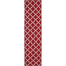Safavieh Red/ Ivory Flat weave Wool Runner 2' 6 x 12'