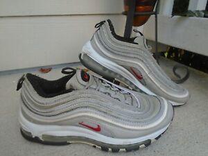 Nike Air Max 97 Metallic Silver Varsity Red Mens Size 7.5 Sneakers 884421 001