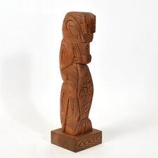 "Grizzly Bear and Salmon Cedar Totem Pole 18"" Tall"