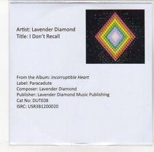 (DL279) Lavender Diamond, I Don't Recall - 2013 DJ CD