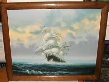 K.MAX SAILING SHIP ORIGINAL OIL ON CANVAS SEASCAPE PAINTING