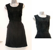 NEXT Black Linen Gorgeous Embroidered Short Sheath Casual Dress size 12 EU 40