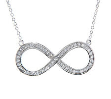 STERLING SILVER CUBIC ZIRCONIA SMALL INFINITY SYMBOL NECKLACE