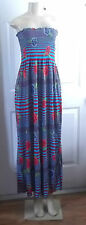 FLORAL STRIPE BLUE RED ROSES SUMMER ELASTIC DRESS MAXI LONG STRAPLESS SMALL