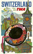 MINT Original Vintage Airline Travel Poster TWA Switzerland DAVID KLEIN Bern VTG