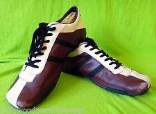 DIESEL WISH 14 13 47.5 burgundy brown OLD School sneker racing stripe white vtg