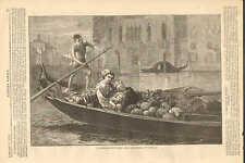 Venice, Italy, A Venetian Fruit Boat, Canal, Gondola, 1873 Antique Print RARE