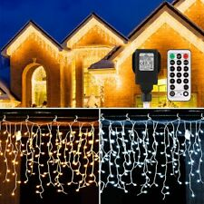 Icicle Lights Outdoor, B-right 440 Led Icicle Christmas Lights Warm White & Cool