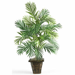 Areca Palm W/Wicker Basket Silk Plant Realistic Nearly Natural Home Decoration