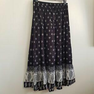 NEW M&Co Plus Size 18-28 100% Cotton Paisley Print Maxi Skirt Black Ivory White