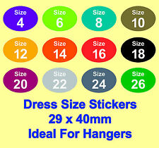 Coloured Ladies Dress / Skirt / Blouse / Clothing Size Stickers - Sticky Labels
