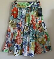 Zara Basic Size Euro XS Ladies White Skirt With Multicoloured Floral Print, BNWT