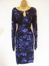 GHOST DRESS 18 BLACK PURPLE FLORAL EXCELLENT